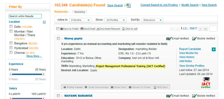 recruiter monster india resume database search result candidate
